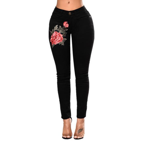 Quần Jeans Thêu Họa Tiết Quyến Rũ Cho Nữ