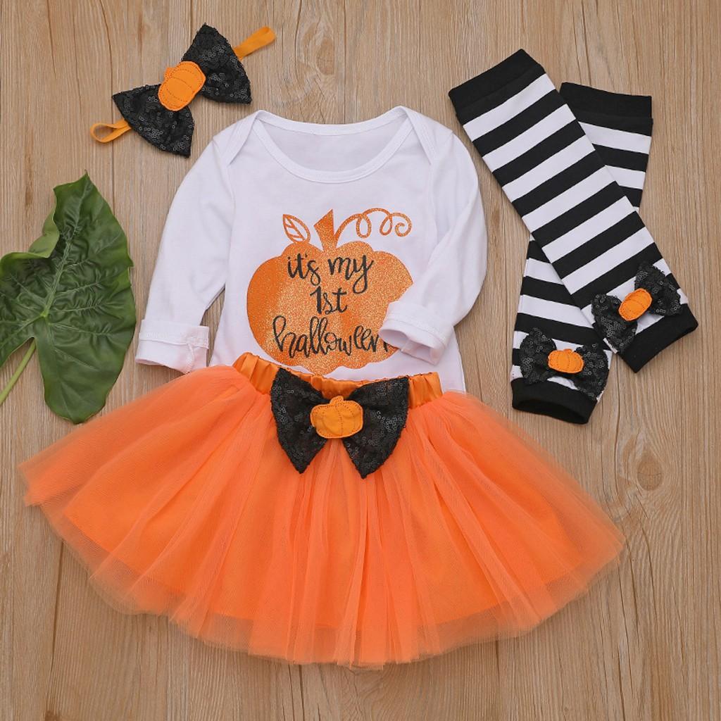 Bộ đồ bé gái áo liền quần + băng đô nơ + chân váy tutu + giữ ấm chân phong cách Halloween cho bé gái