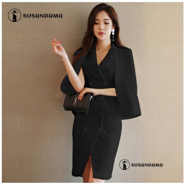 Set đầm đen sát nách và áo khoác ngoài thời trang phong cách Hàn Quốc cho nữ