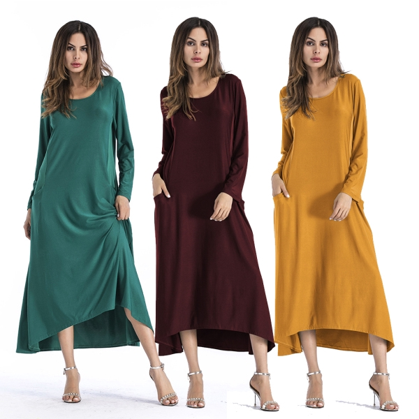 Women Irregular Lady Dress European and American Round Neck Long Sleeve Solid Color Dress
