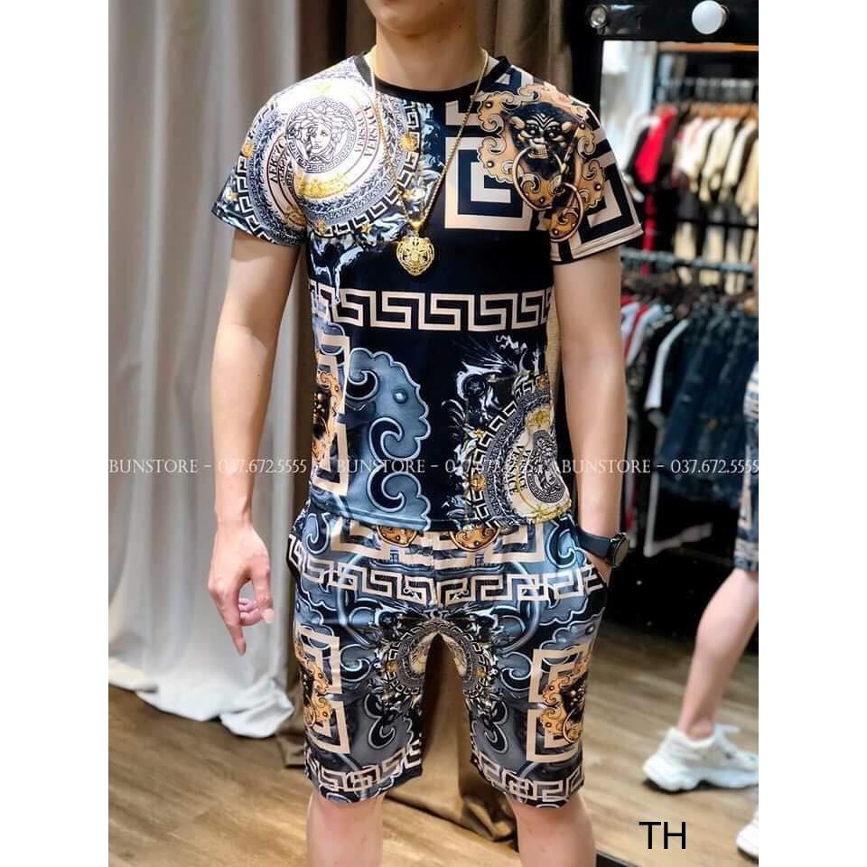 (Có Mã Giảm Giá) Bộ quần áo thun nam- bộ nam 3D V.er.sa.ci- bộ hè nam(TH)