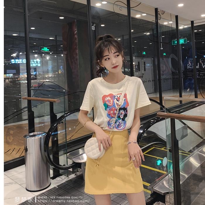 Set Áo Thun Tay Ngắn In Hình Cá Tính + Chân Váy Chữ A Trẻ Trung Hợp Thời Trang Cho Bạn Gái
