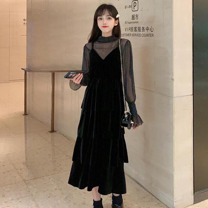 Bộ Áo Sơ Mi Dáng Ôm + Chân Váy Xếp Tầng Xinh Xắn Dành Cho Nữ