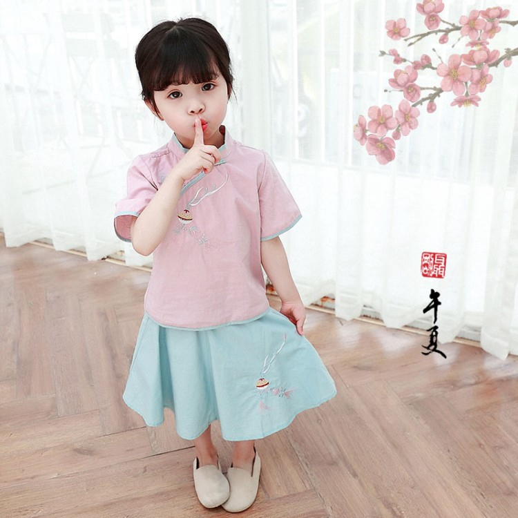 Set áo sườn xám ngắn tay thêu họa tiết + chân váy xòe xinh xắn cho bé gái 2-6 tuổi