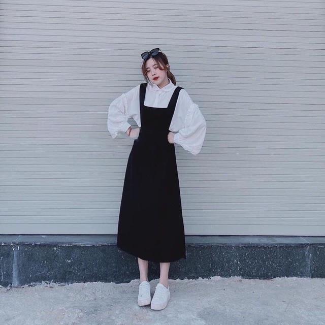 4241115869 - Set trang phục áo sơ mi trắng tay phồng + đầm yếm dáng xoè đen (kèm ảnh thật) (HT) (SM)