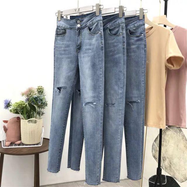 Quần jeans rách gối 2 cúc (436)