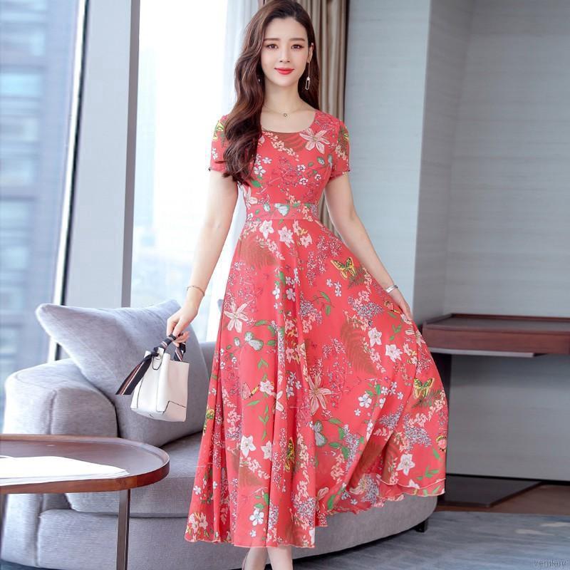 đầm cổ v hoa Summer women Floral Dress O Collar Short-sleeved Bohemian Dress