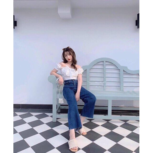 Quần jean cullotes cotton 9 tất lưng cao không co dãn - quần jean ống rộng cotton 9 tất tua lai [pyenstore]