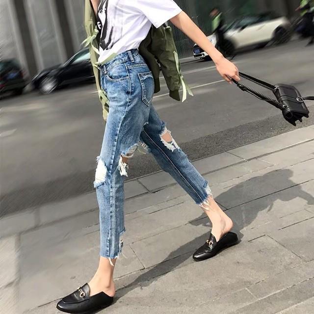 (Order) bigsize Quần jeans rách 2 mặt cá tính hè 2019