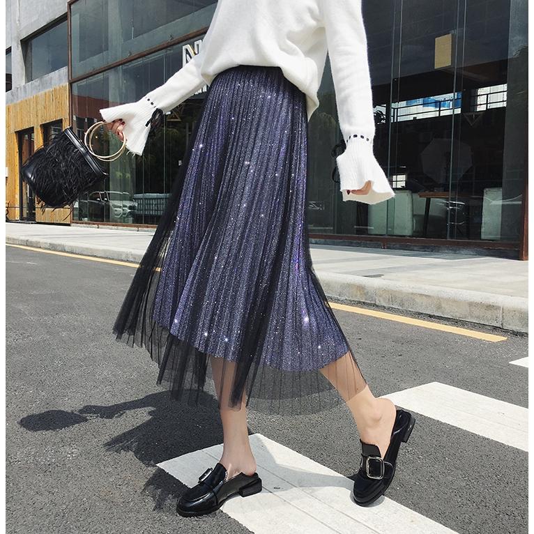 Chân váy lưới xếp li phong cách Hàn Quốc thanh lịch dành cho nữ