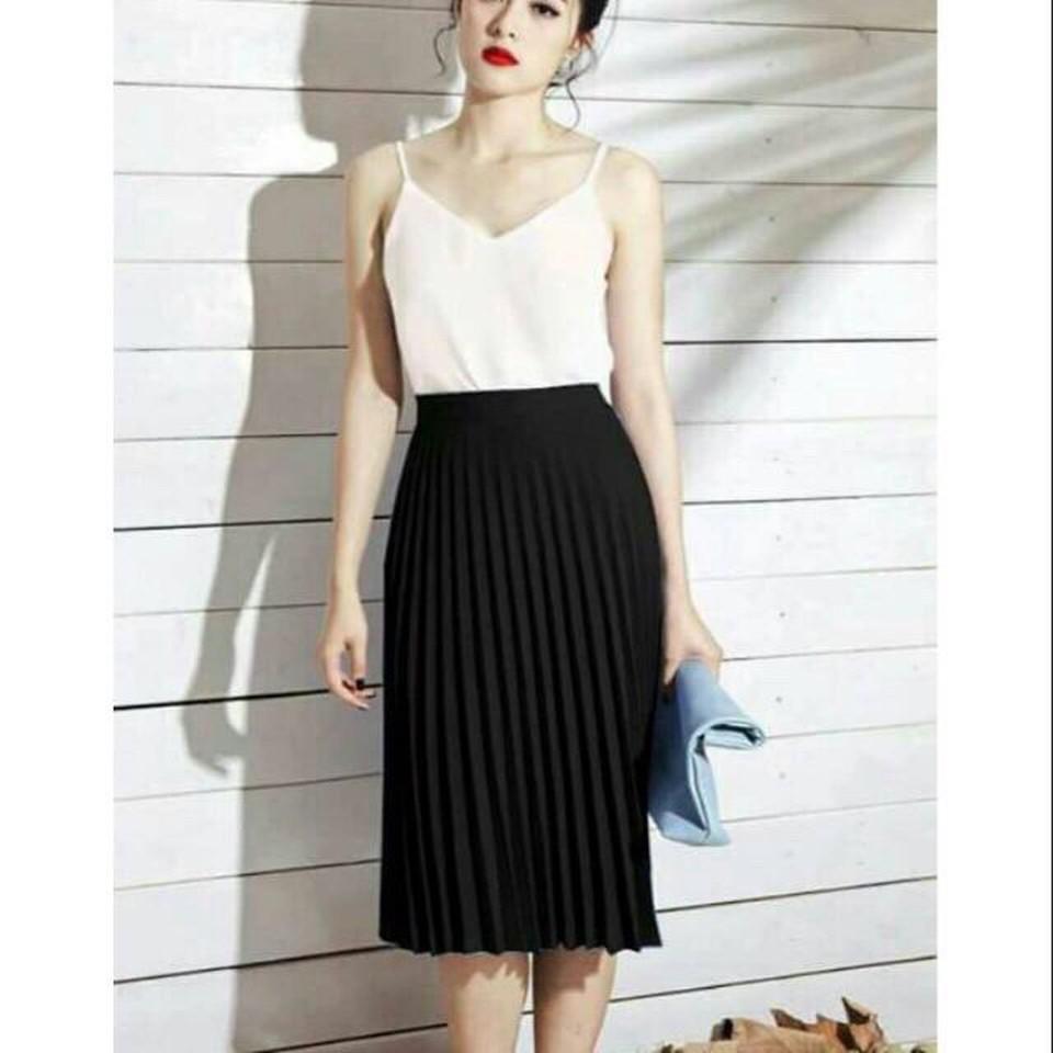 Chân váy xòe dài dập ly_Dma Store