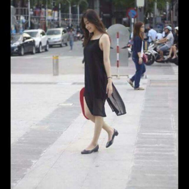 Đầm xẻ tà voan