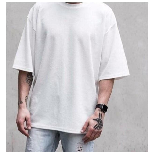 áo thun tay lỡ màu trắng FOME RỘNG có chọn size, chất thun xịn 23sfk2