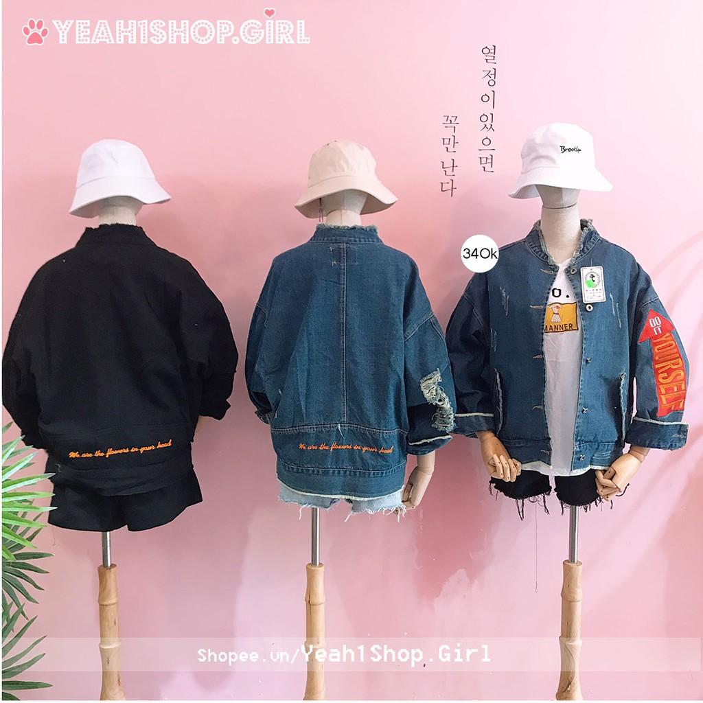 [Yeah1Shop]- Áo khoác Jeans mũi tên (Freesize dưới 65kg)