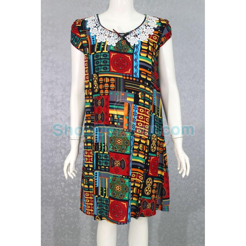 Đầm bầu mặc nhà cổ sen ren - nơ - tôn thái (Mã số: DN391)