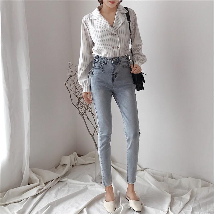Quần Jeans Đan Hông Cạp Cao - R1112