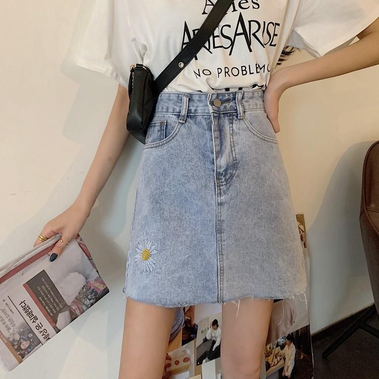 Chân Váy Denim Lưng Cao Màu Sáng Phong Cách Hàn Quốc