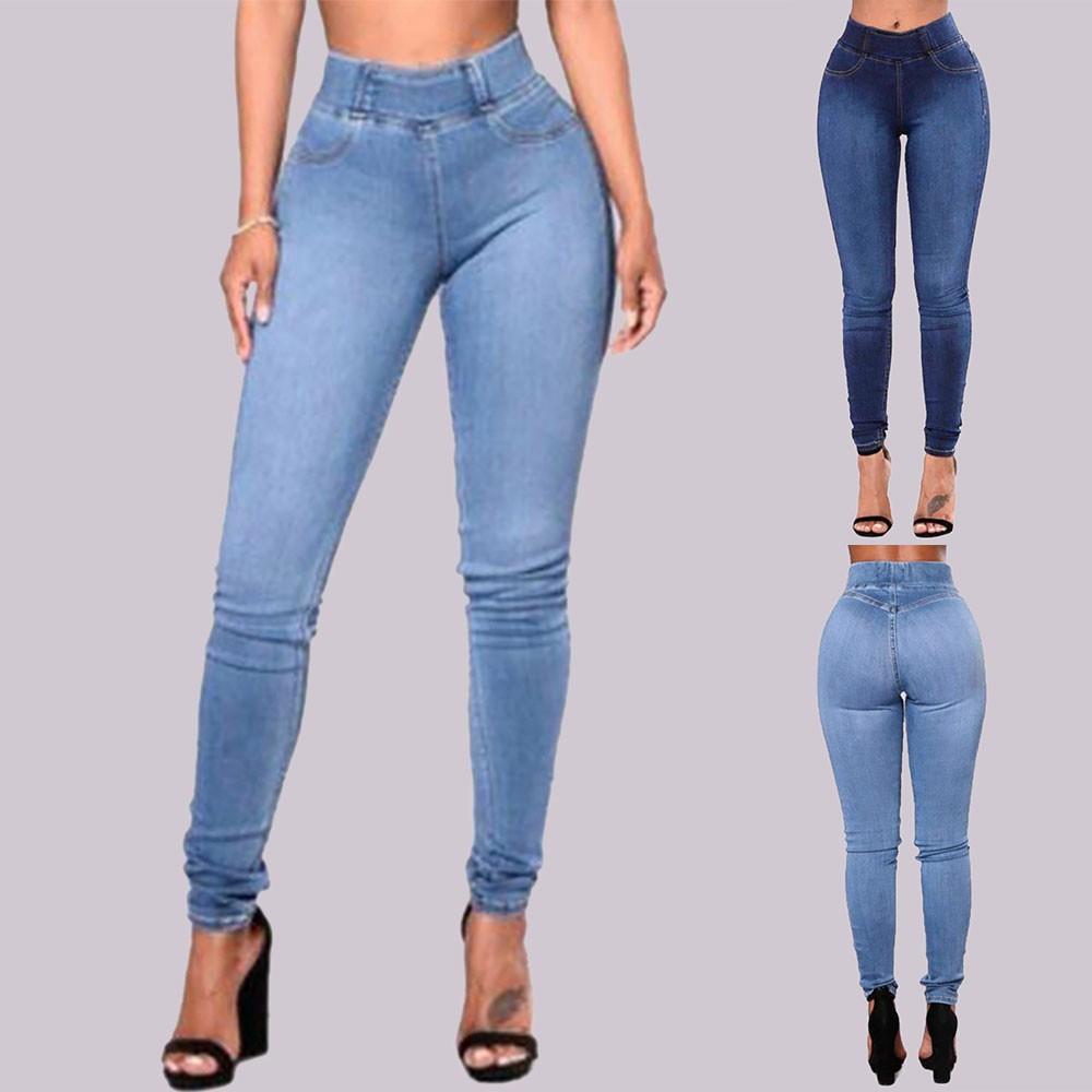Quần jeans dài phối túi màu trơn thiết kế ôm sát tôn dáng