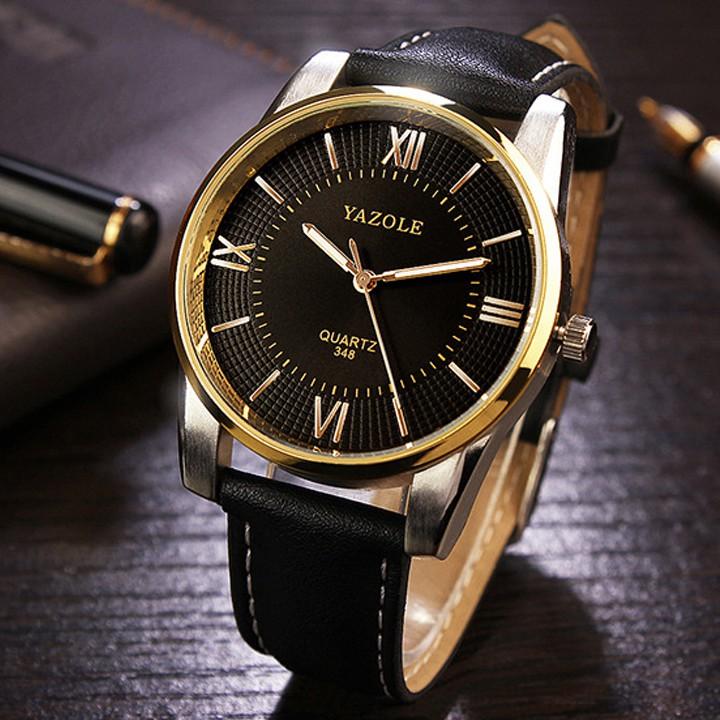 [Mã WTCHJAN giảm 20K ] Đồng hồ nam Yazole HSP9541 dây da pu, mặt kính size 40mm