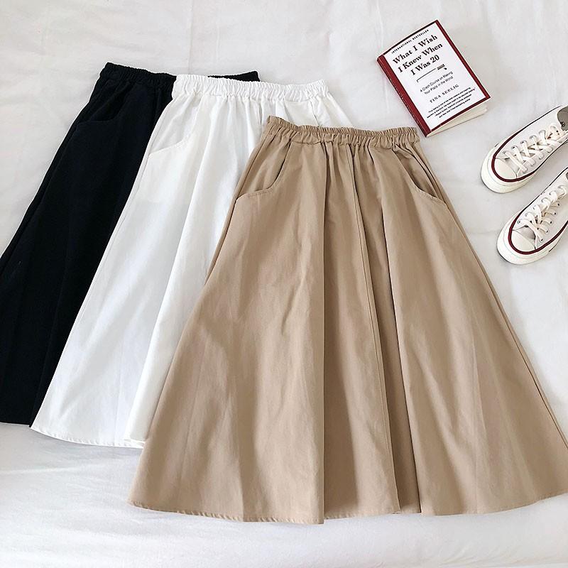 Chân váy dù lưng thun kiểu dáng đơn giản thời trang cho nữ