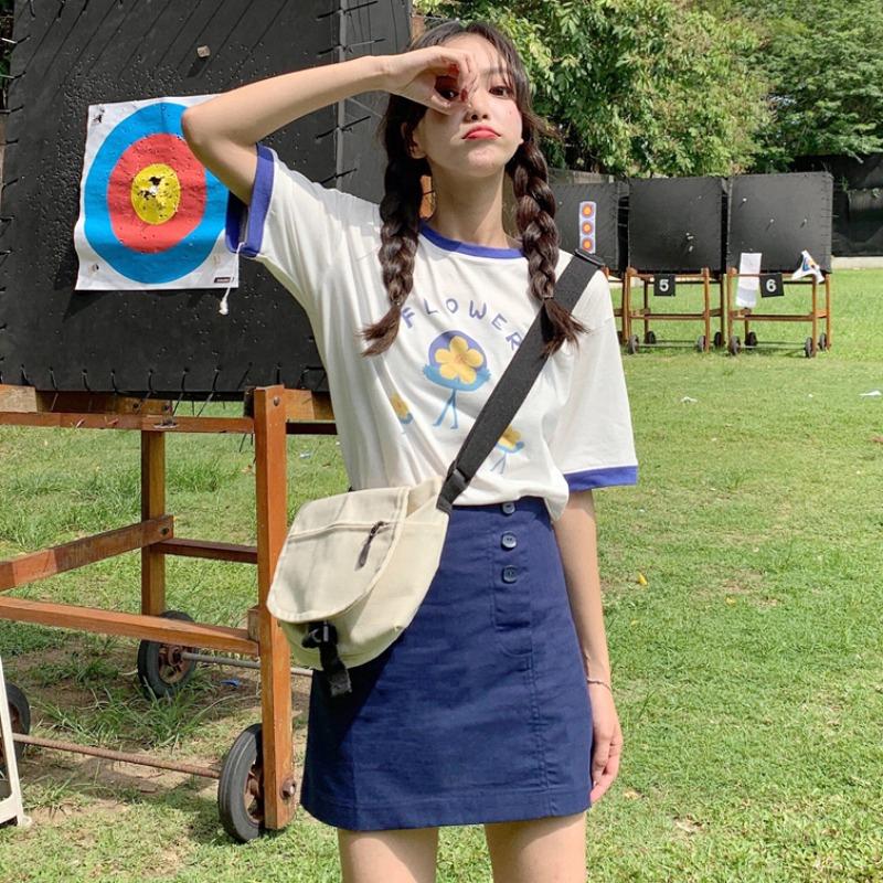 Bộ Áo Thun In Hoa + Chân Váy Lưng Cao Xinh Xắn Dành Cho Nữ