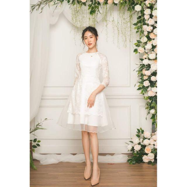 Set áo dài cách tân phối ren kèm chân váy xòe diện tết kèm ảnh thật