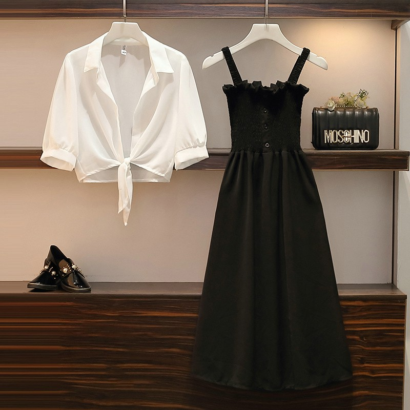 Set Áo Hai Dây + Chân Váy Lưng Cao Dáng Dài Xinh Xắn Thời Trang Kiểu Pháp