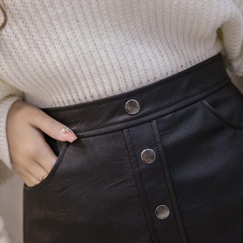 Chân váy ngắn form chữ A bằng chất liệu da phong cách thời trang thu đông dành cho nữ