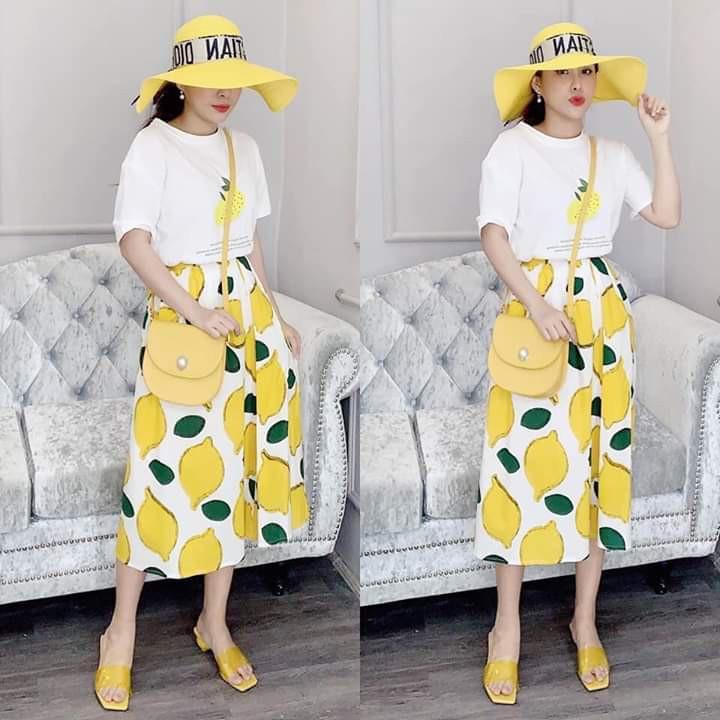 ẢNH THẬT Set bộ áo + chân váy vàng họa tiết cực xinh hot 2019