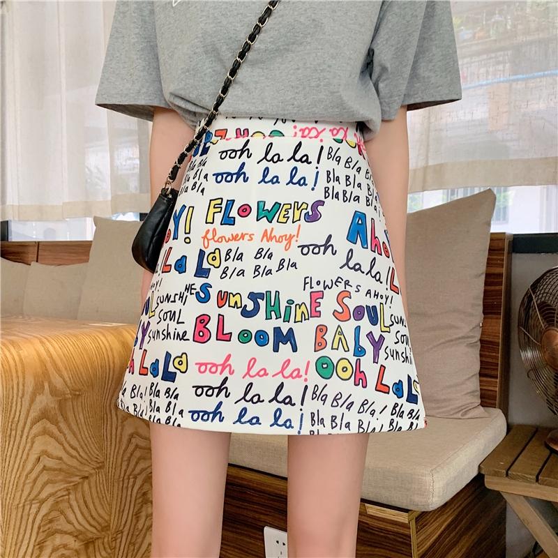 Set Áo Thun Và Chân Váy Họa Tiết Graffiti Thời Trang Dành Cho Nữ