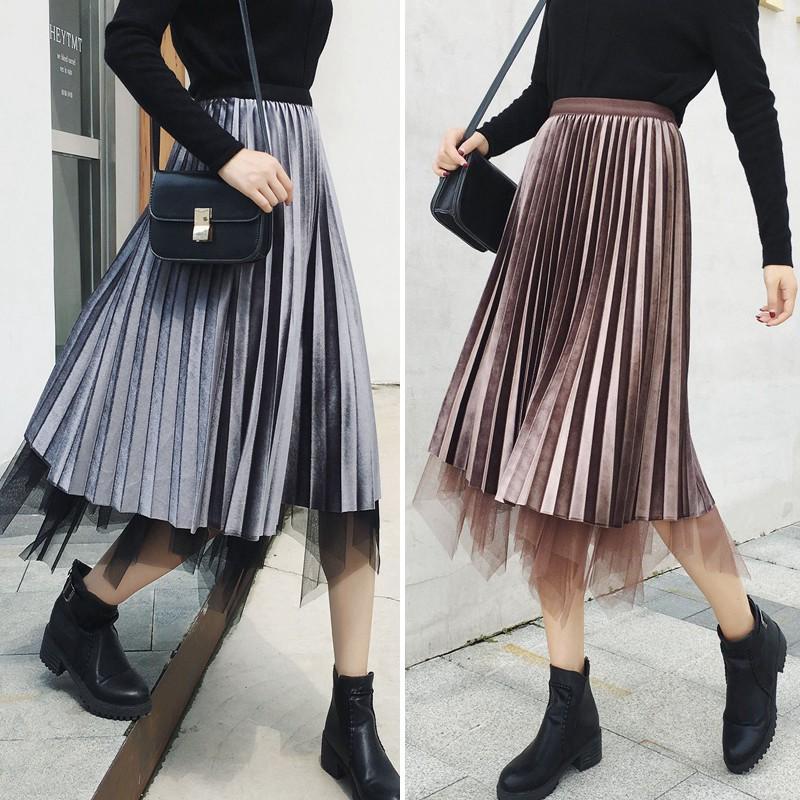 Chân váy lưới lưng cao chất nhung cho phái nữ