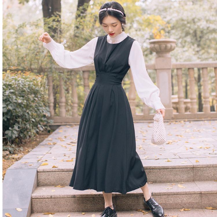 Set Áo Sơ Mi Dài Tay+chân Váy Yếm Cho Bé 57
