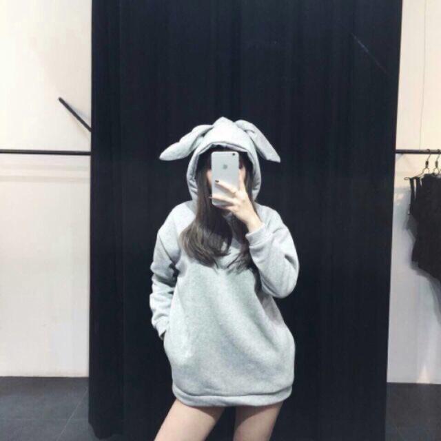 Áo khoác tai thỏ 2 màu đen xám