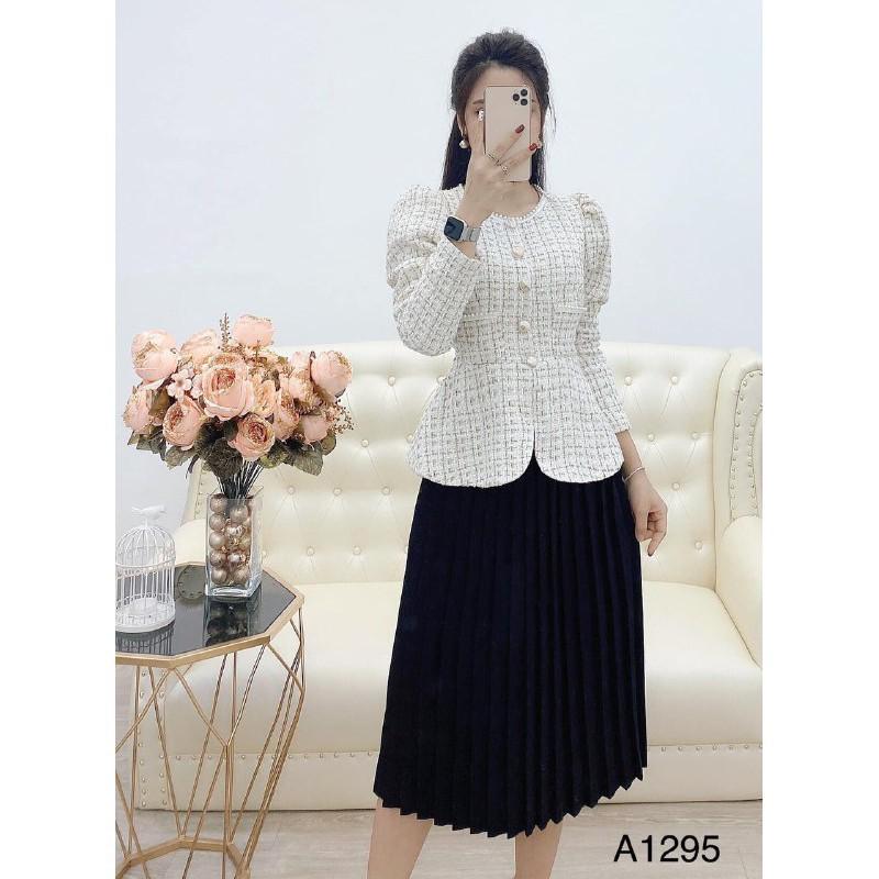 MiD Set áo khoác + chân váy đen S1295 thời thượng Mie Design kèm ảnh thật