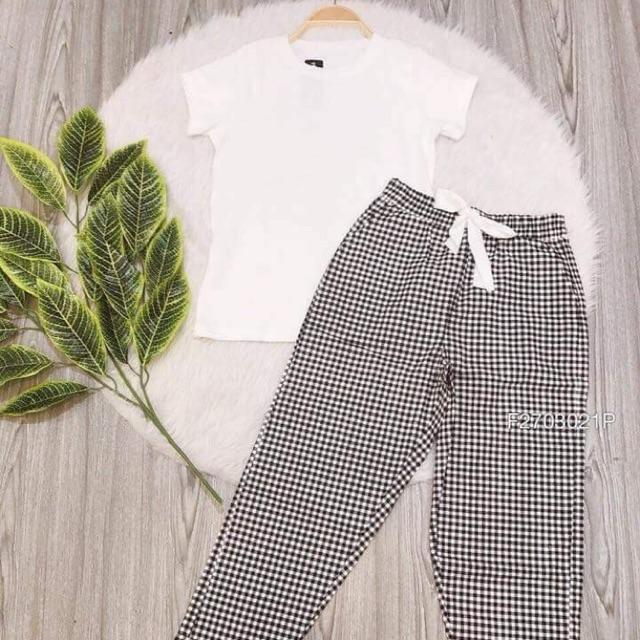 ❌❌Sét bộ áo thun + quần caro hàng nhập  1️⃣8️⃣0️⃣ Chất thun + kaki ⏭MS150