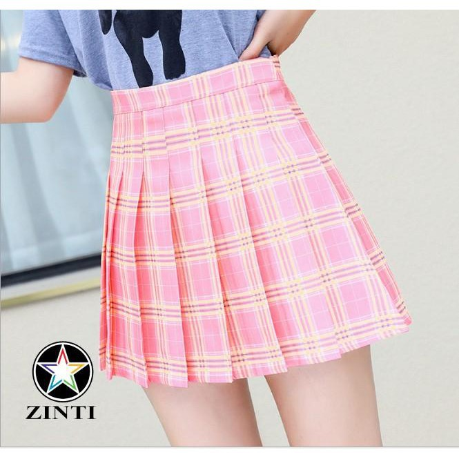 [Mua nhiều] Chân váy tennis xếp ly caro có lót trong Zinti màu hồng