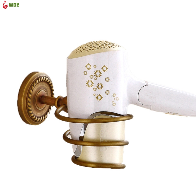 Retro Hair Dryer Holder Stand Wall Hairdryer Holder Bathroom Shelf Storage Organizer
