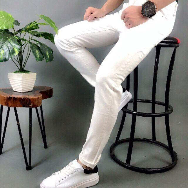 Quần jean nam trơn màu trắng, quần jean nam, jean nam không rách