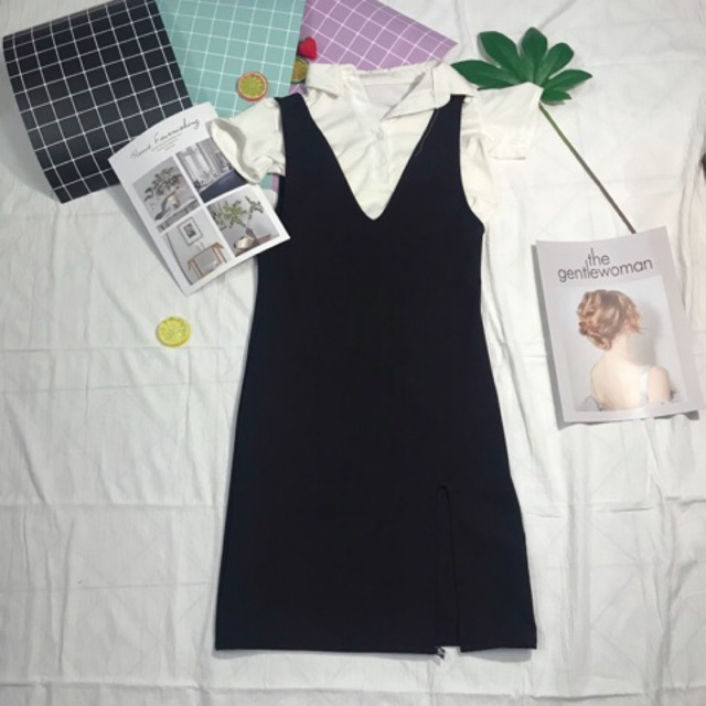 Set áo thun và đầm yếm đen hình chụp thật