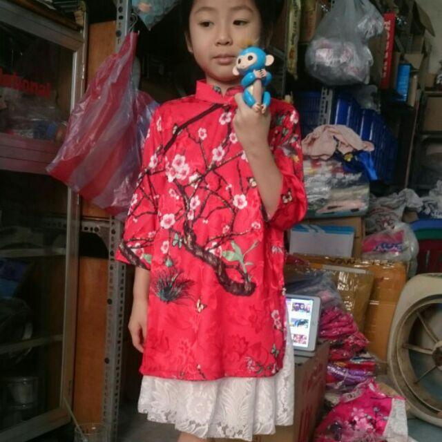Áo dài cách tân cho bé gái, có kèm chân váy, chất liệu vải gấm cao cấp, chân váy ren không ngứa, hàng nhà may vải đẹp.