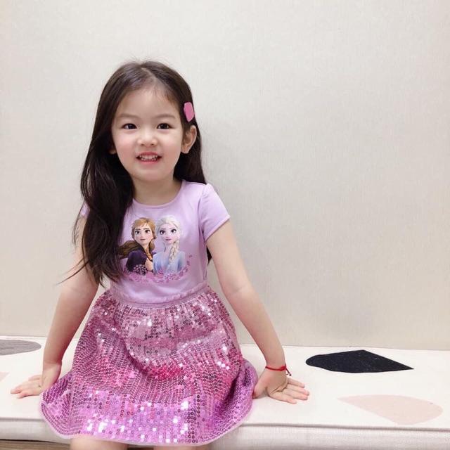 Đầm Elsa đính sequien hồng tím,tặng kẹp elsa, chân váy 3 lớp- hàng loại 1-tag thương hiệu