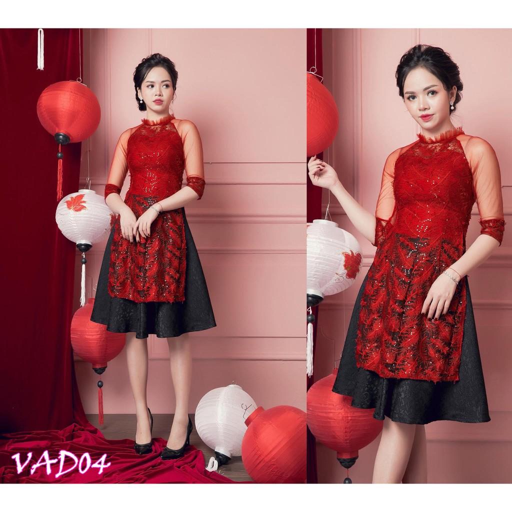 Set áo dài cách tân + Chân váy xòe (hàng cao cấp) VAD04 VV44