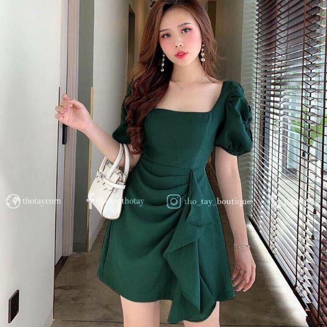 Đầm bèo dọc chân váy kèm hình thật