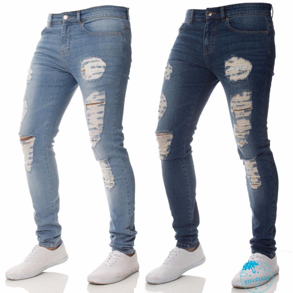 SunNewest Fashion Men´s Skinny Ripped Destroyed Distressed Jeans Plain Stretch Tapered Leg Pants Hot Sale