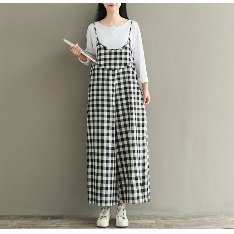 Hình ảnh Women's Large Size Pants Loose Linen Black and White Plaid Straps with Wide-leg Trousers