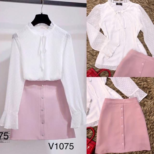 Sét áo trắng chân váy hồng thiết kế kèm ảnh thật