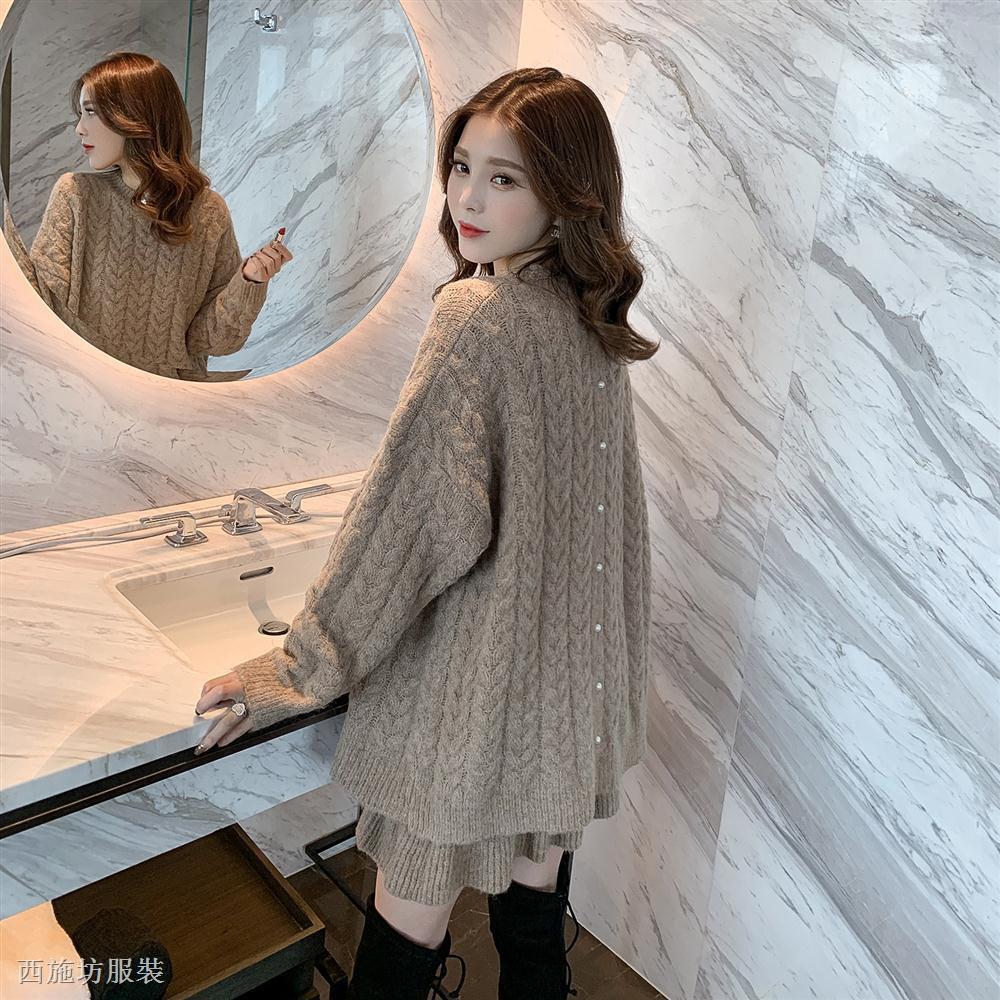 Set Áo Len Tay Dài Form Rộng Và Chân Váy Ngắn Phong Cách Hàn Quốc
