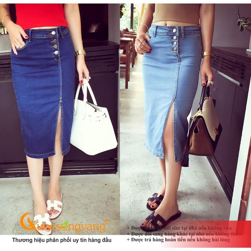 Chân váy jean nhiều nút chân váy bút chì chất đẹp GLV174