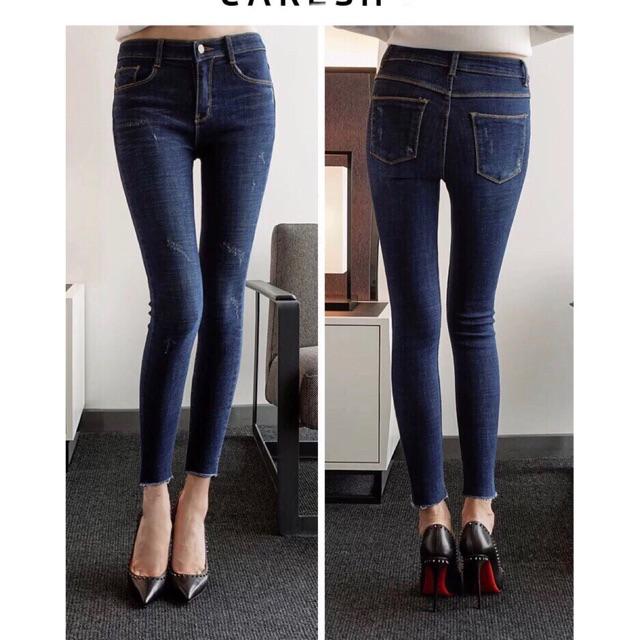 Quần jean dài cào tua lai co giãn cao cấp size từ 25-35