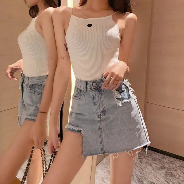 (Sẵn S) Chân váy bò, jeans rách xẻ đùi (quần trong)